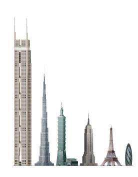 Imagen comparativa del edificio con el Burj Dubai, el Empire State y la torre Eiffel
