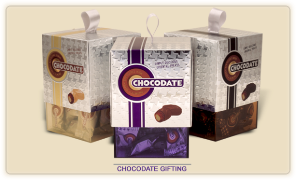 Chocodate is a layer of rich milk chocolate covering a velvety Arabian date, filled with a crisp golden roasted almond. A unique taste of the Orient.